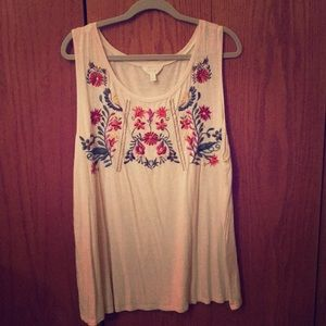 Flower Embroidered Sleeveless Top